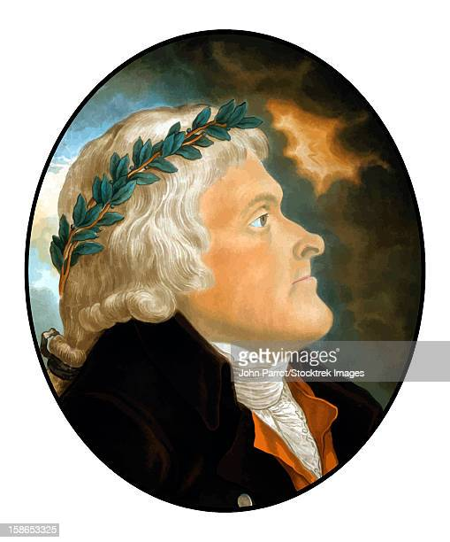 digitally restored vector artwork of president, vice-president, founding father, and author of the declaration of independence, thomas jefferson. - thomas jefferson stock illustrations, clip art, cartoons, & icons