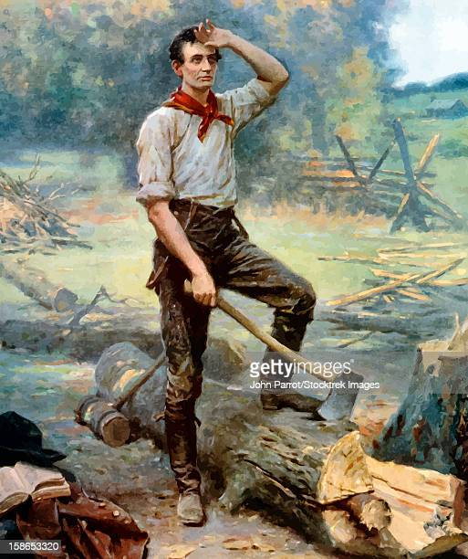 Digitally restored vector painting of a young Abraham Lincoln, The Rail Splitter, chopping wood.