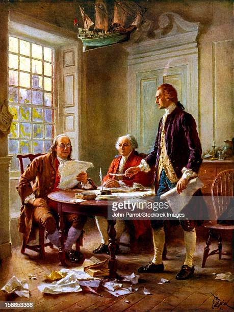 digitally restored vector painting of benjamin franklin, john adams, and thomas jefferson writing the declaration of independence. - declaration of independence stock illustrations