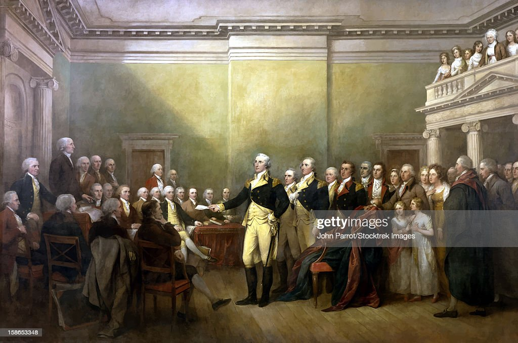Digitally restored vector painting of General George Washington resigning his commission. : stock illustration