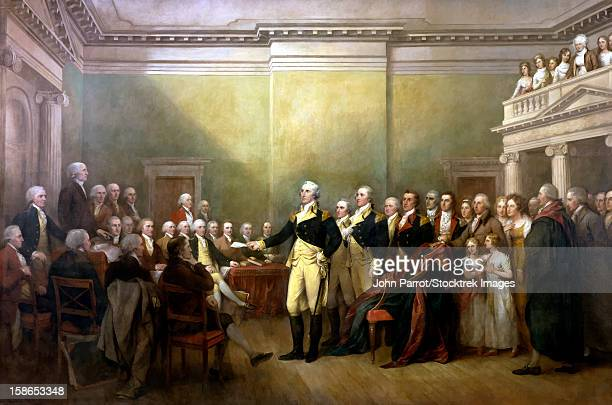 digitally restored vector painting of general george washington resigning his commission. - american revolution stock illustrations, clip art, cartoons, & icons