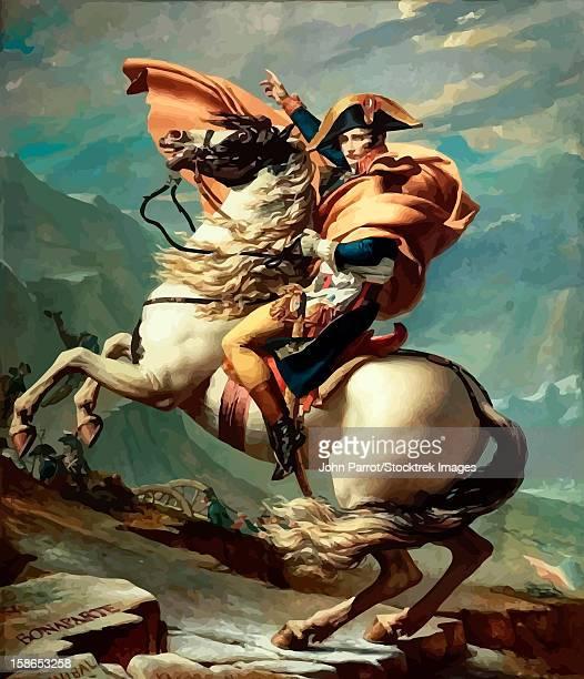 digitally restored vector painting of napoleon bonaparte on his horse. - history stock illustrations