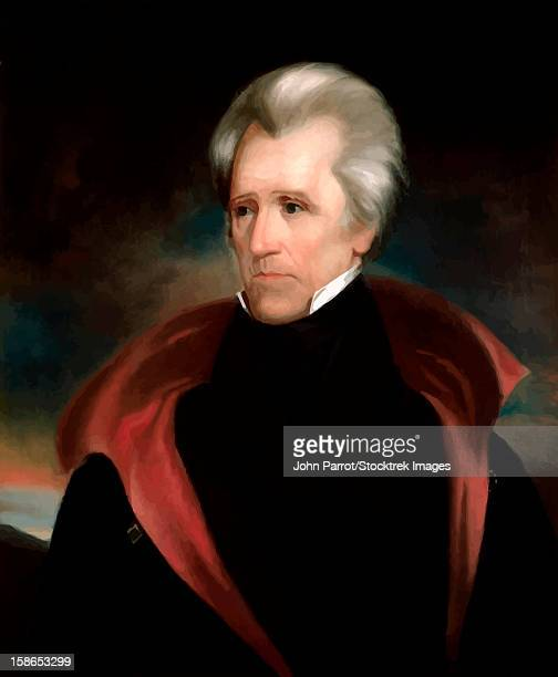 digitally restored vector painting of president andrew jackson. - president stock illustrations, clip art, cartoons, & icons