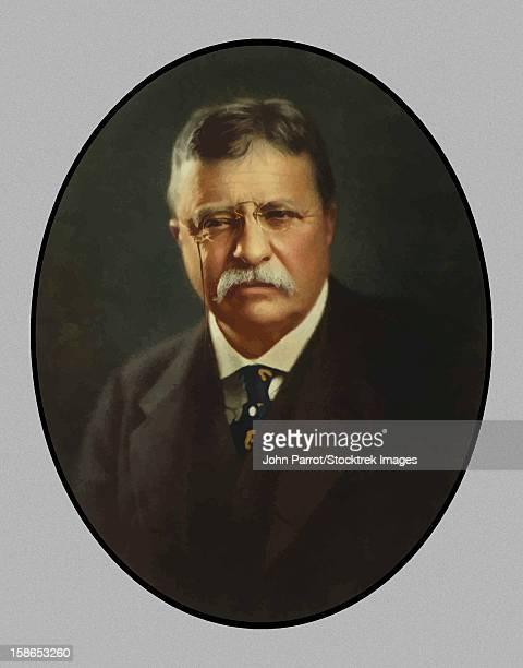 digitally restored vector painting of president theodore roosevelt. - us president stock illustrations, clip art, cartoons, & icons