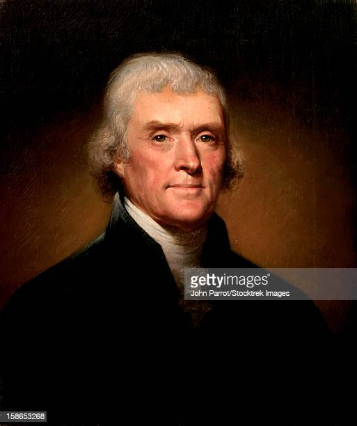 digitally restored vector painting of president thomas jefferson. - thomas jefferson stock illustrations, clip art, cartoons, & icons