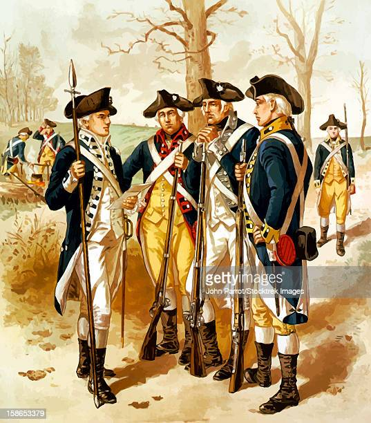 digitally restored vector painting of soldiers of the continental army, also known as minutemen, during the revolutionary war. - american revolution stock illustrations, clip art, cartoons, & icons