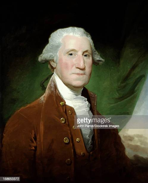 digitally restored vector painting of the first united states president george washington. - 18th century stock illustrations