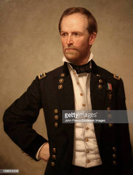 Digitally restored vector painting of Union Civil War General William Tecumseh Sherman.