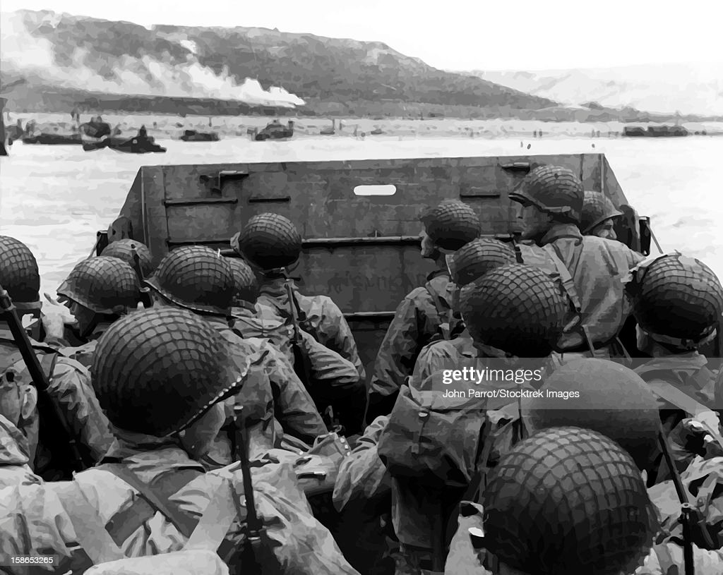 Digitally restored vector photo of American troops in a landing craft. : Stock Illustration