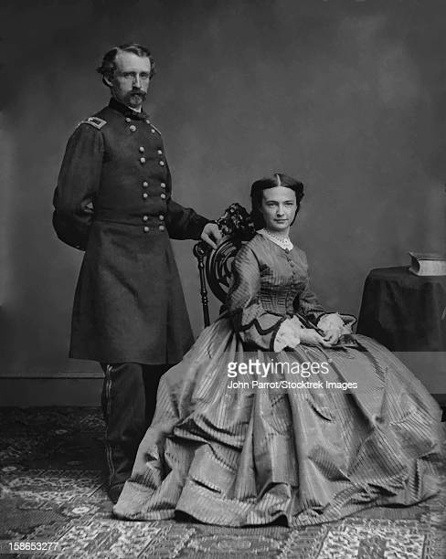 Digitally restored vector photo of General George Armstrong Custer standing by his wife, Elizabeth Bacon Custer.