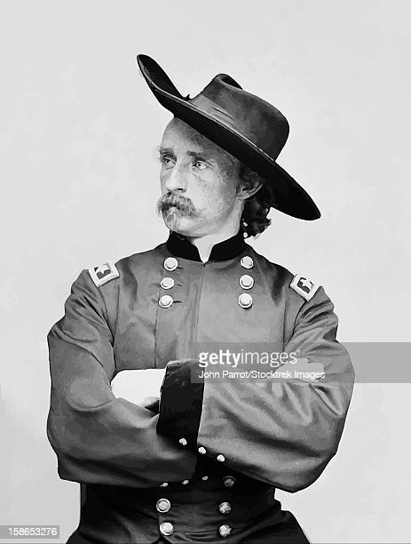 Digitally restored vector portrait of General George Armstrong Custer.