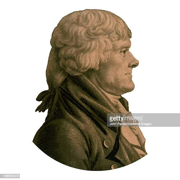 digitally restored vector portrait of president, vice-president, founding father, and author of the declaration of independence, thomas jefferson. - historical document stock illustrations, clip art, cartoons, & icons