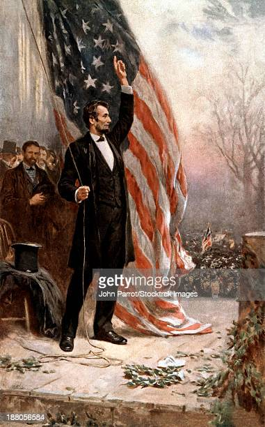 Digitally restored vintage American Civil War painting featuring President Abraham Lincoln holding the American flag as he speaks before a crowd.