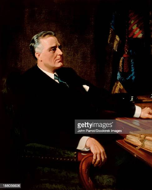 digitally restored vintage american history painting of president franklin roosevelt seated at a desk. - franklin roosevelt stock illustrations