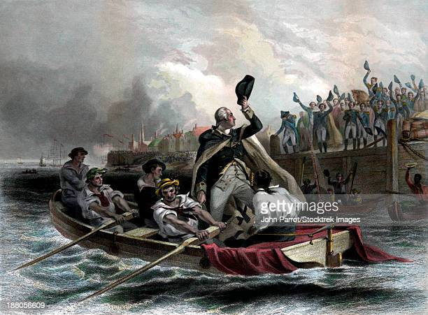 Digitally restored vintage American history print of General George Washington tipping his hat to his generals as he leaves the dock on a boat.