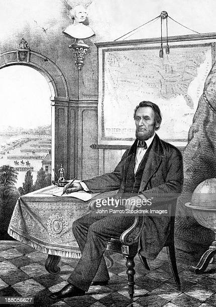 Digitally restored vintage Civil War print of President Abraham Lincoln, seated and working in his office. Troops can be seen through the window.