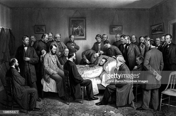 Digitally restored vintage Civil War print of President Abraham Lincoln on his deathbed.