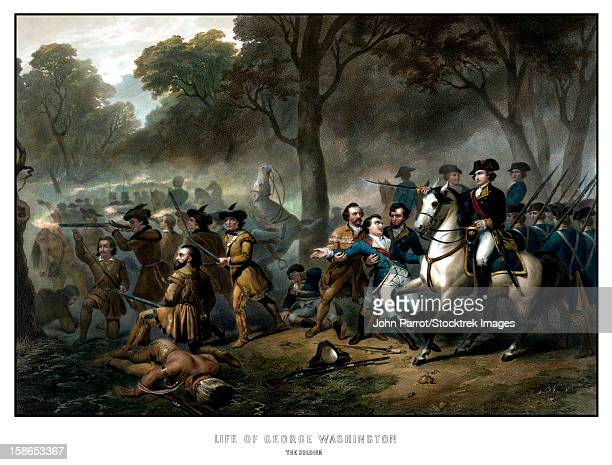 digitally restored vintage print showing george washington on horseback, leading troops at the battle of the monongahela. the print reads, life of george washington, the soldier. - american revolution stock illustrations, clip art, cartoons, & icons