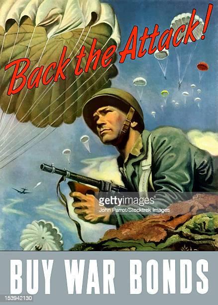 ilustraciones, imágenes clip art, dibujos animados e iconos de stock de digitally restored war propaganda poster. - submachine gun