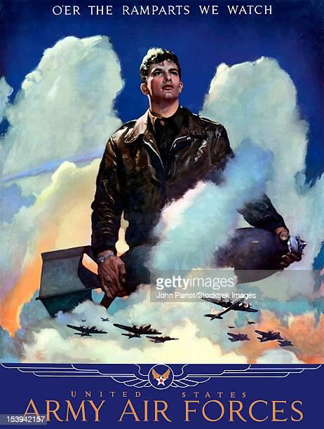 digitally restored war propaganda poster. - us air force stock illustrations