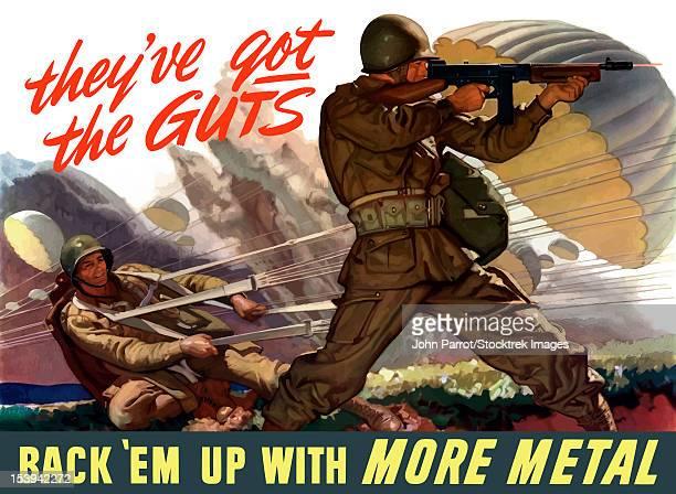digitally restored war propaganda poster. - paratrooper stock illustrations, clip art, cartoons, & icons