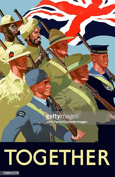 digitally restored war propaganda poster. this vintage world war ii poster features the troops of the british empire marching under the union flag. it declares - together. - world war ii stock illustrations