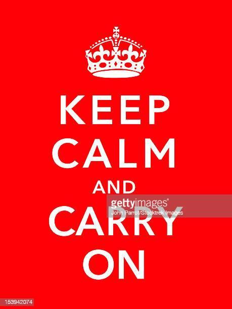 ilustrações de stock, clip art, desenhos animados e ícones de digitally restored war propaganda poster. this vintage world war two poster features the british crown. it declares - keep calm and carry on. - segunda guerra mundial