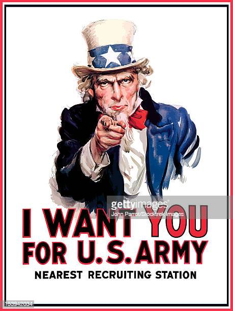 digitally restored war propaganda poster. uncle sam vintage war poster. uncle sam declares - i want you for u.s. army, nearest recruiting station. - traditional clothing stock illustrations