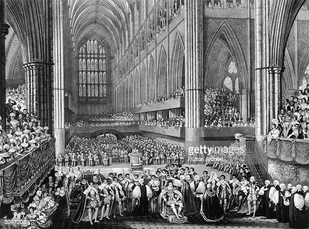 Dignitaries and guests watching King George IV's coronation in a crowded Westminster Abbey.