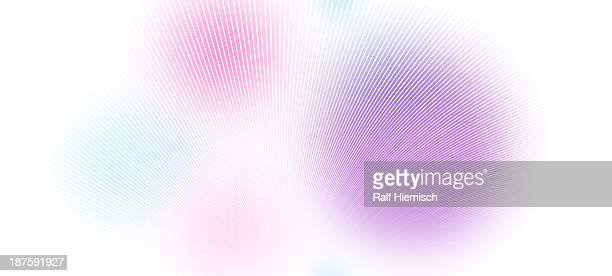diminishing perspective of curved lines over blotches of color - in a row stock illustrations
