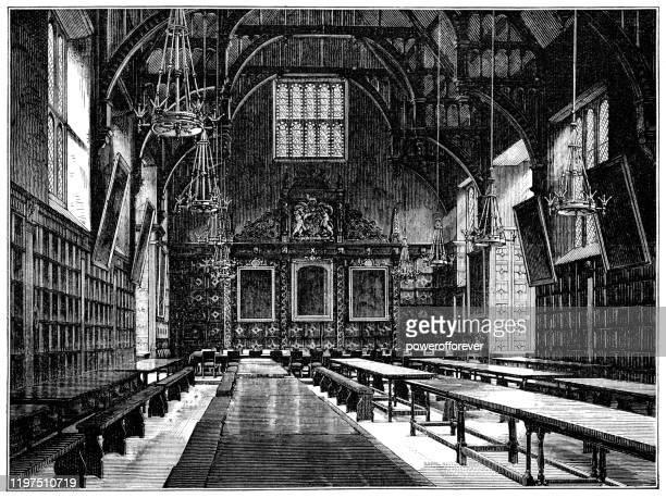 dining hall of trinity college at the university of cambridge in cambridge, england - 19th century - cambridge stock illustrations