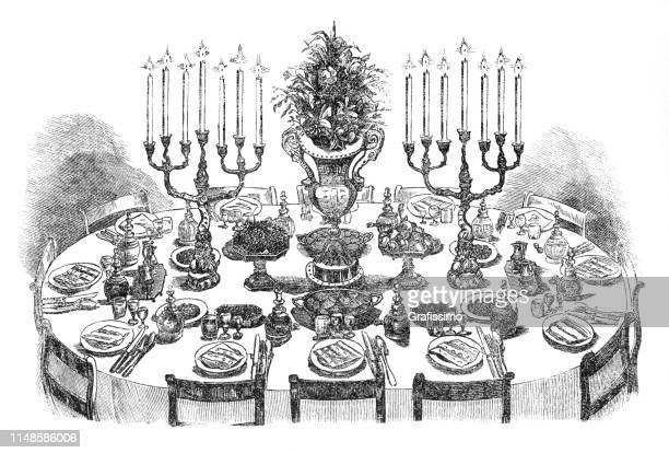 dining table decorated for 12 persons 19th century - banquet stock illustrations