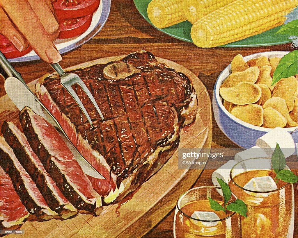 Dinner with Grilled Steak : stock illustration
