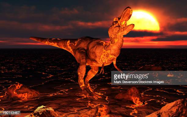 a dinosaur covered in lava during the paleogene extinction event. - lava stock illustrations