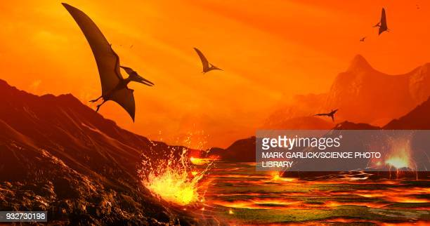 dinosaur extinction event, illustration - lava stock illustrations, clip art, cartoons, & icons