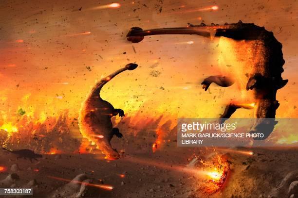 ilustraciones, imágenes clip art, dibujos animados e iconos de stock de dinosaur extinction, illustration - animal extinto