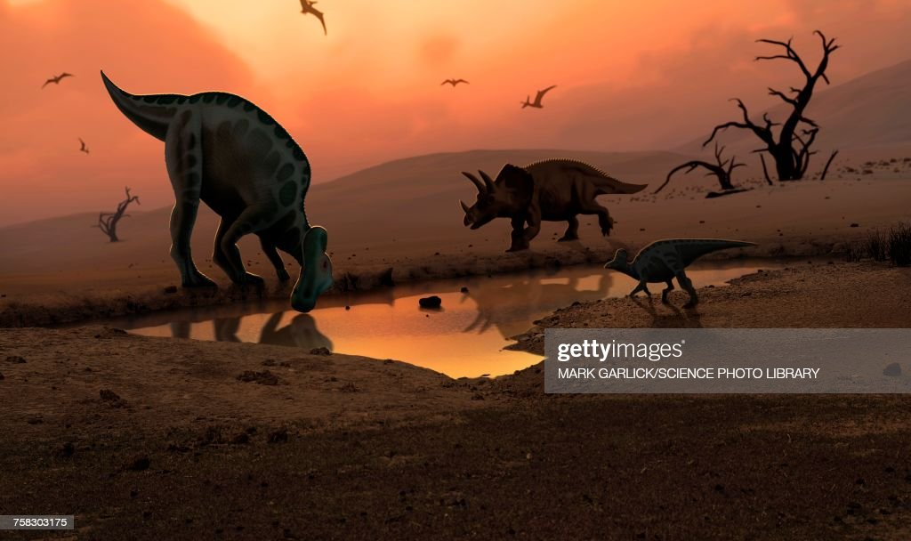 Dinosaurs at a watering hole, illustration : Ilustración de stock