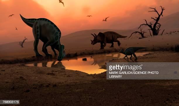 ilustraciones, imágenes clip art, dibujos animados e iconos de stock de dinosaurs at a watering hole, illustration - animal extinto