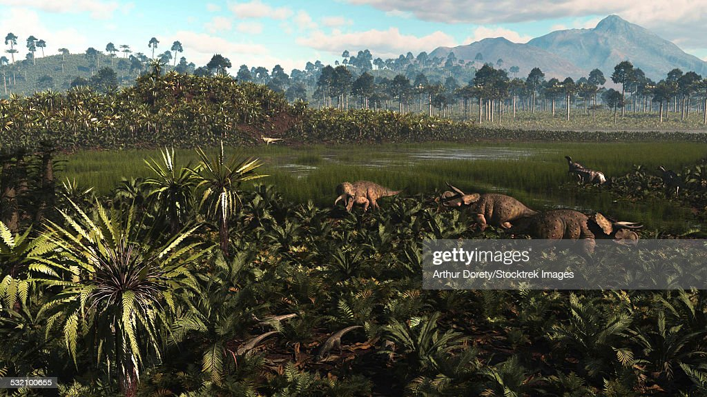 Dinosaurs graze the lush delta lands of North America 76-74 million years ago. : stock illustration