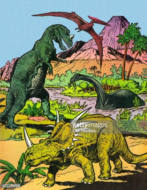 dinosaurs - saurischia stock illustrations