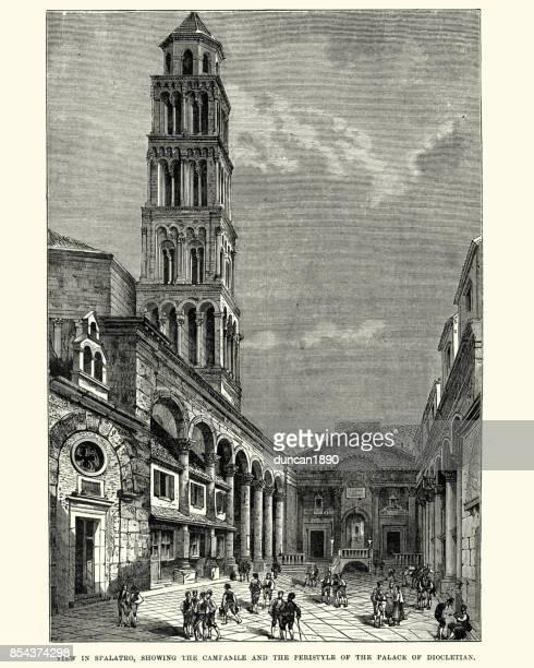 diocletian's palace and campanile, split, croatia, 19th century - croatia stock illustrations, clip art, cartoons, & icons