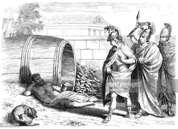diogenes of sinope in wine barrel with dog and alexander the great - alexander the great stock illustrations