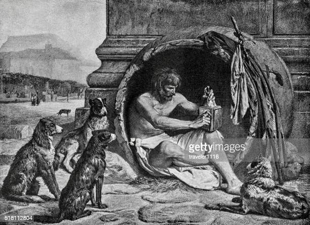 diogenes the cynic - ancient greek philosopher - ancient greece stock illustrations
