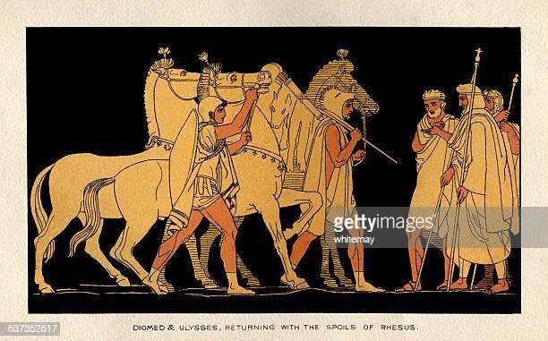 illustrations, cliparts, dessins animés et icônes de ulysse diomed et restitution avec le butin de rhésus - ulysse