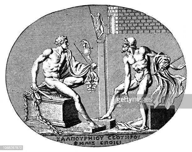 illustrations, cliparts, dessins animés et icônes de diomède et ulysse volent le palladium de troy - ulysse
