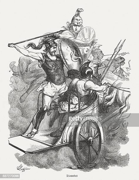 diomedes - protected by athena, greek mythology, published in 1880 - trojan war stock illustrations, clip art, cartoons, & icons