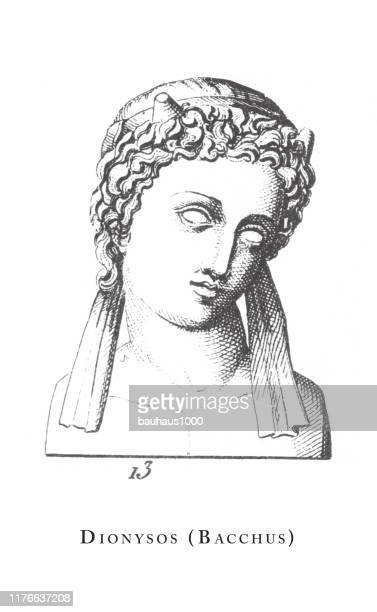 dionysos (bacchus), classical deities and mythological characters engraving antique illustration, published 1851 - roman goddess stock illustrations, clip art, cartoons, & icons
