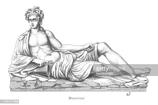 dionysos, gods and mythological characters engraving antique illustration, published 1851 engraving antique illustration, published 1851 - venus roman goddess stock illustrations, clip art, cartoons, & icons