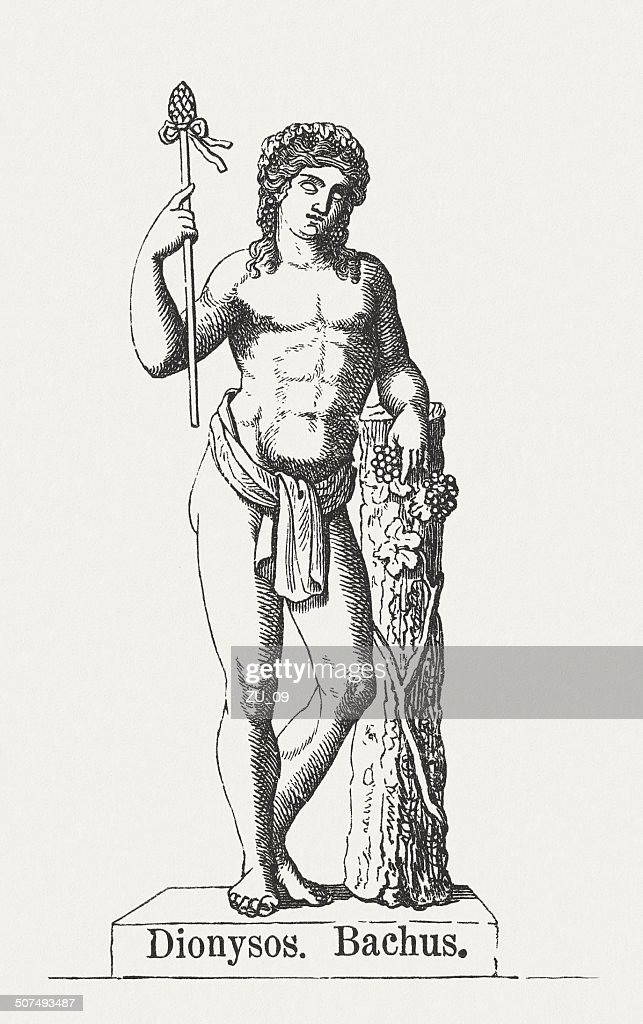 Dionysus, Greek god of harvest, wood engraving, puplished in 1878 : Stock Illustration
