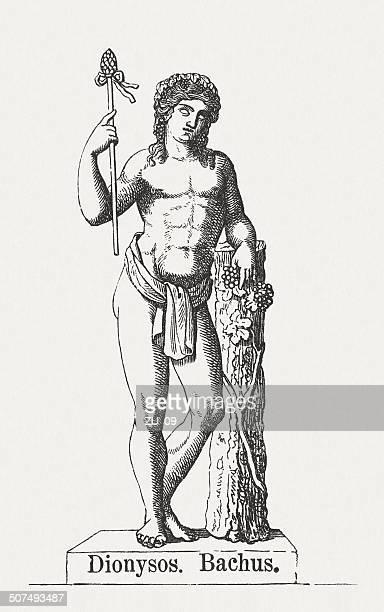 dionysus, greek god of harvest, wood engraving, puplished in 1878 - vine stock illustrations